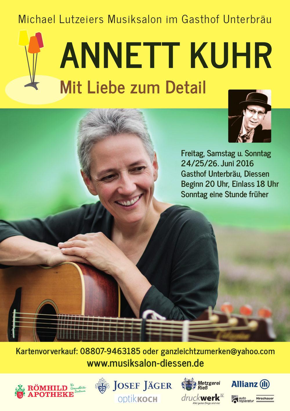 Annett Kuhr im Musiksalon Dießen, 11./12./13. März 2016