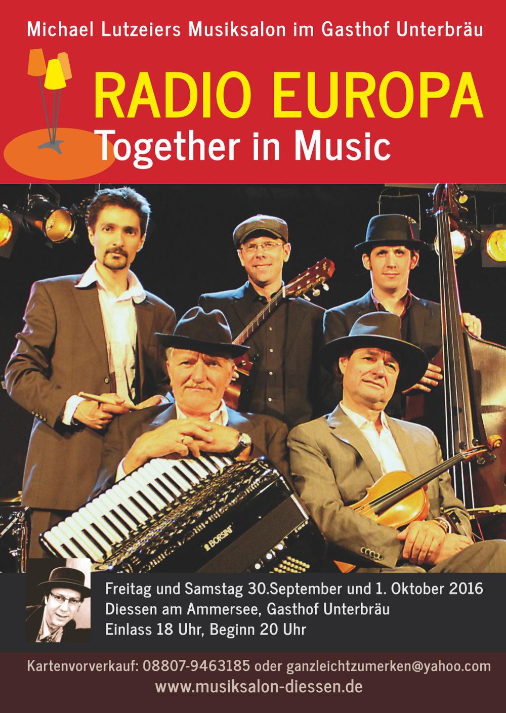 Radio Europa im Musiksalon Dießen, 30.9/1.10. 2016