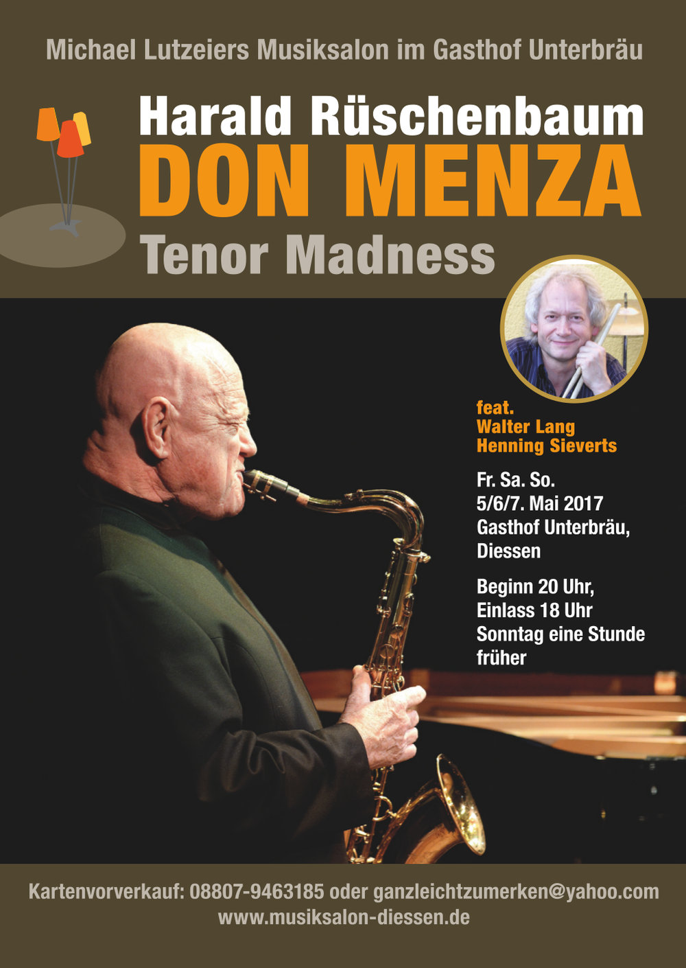 DON MENZA Tenor Madness im Musiksalon Diessen, 5/6/7. Mai 2017