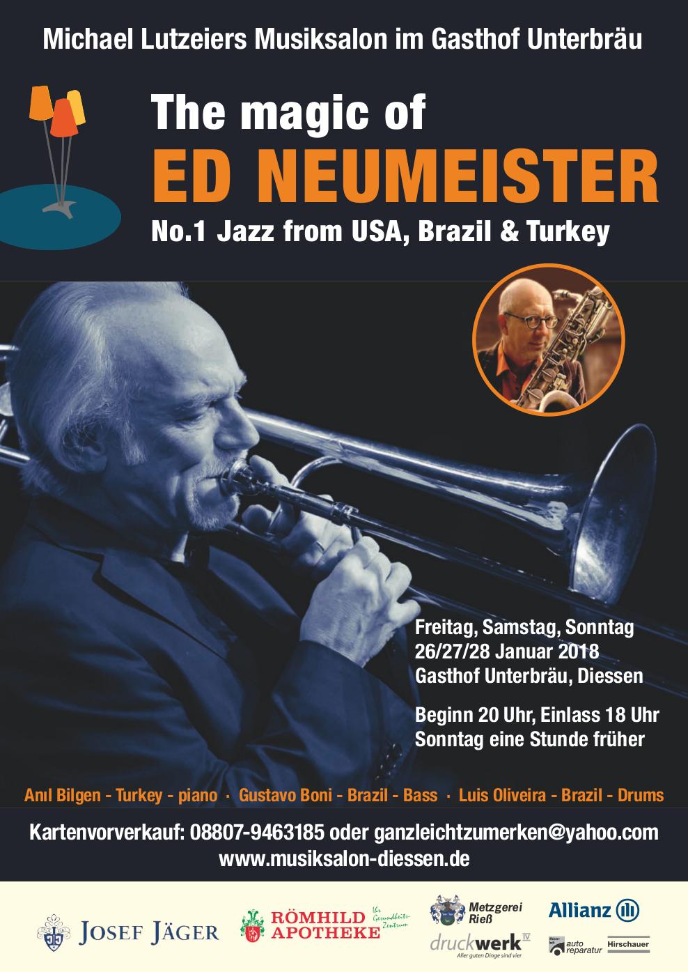 The Magi of Ed Neumeister im Musiksalon Diessen, 26/27/28. Januar 2018